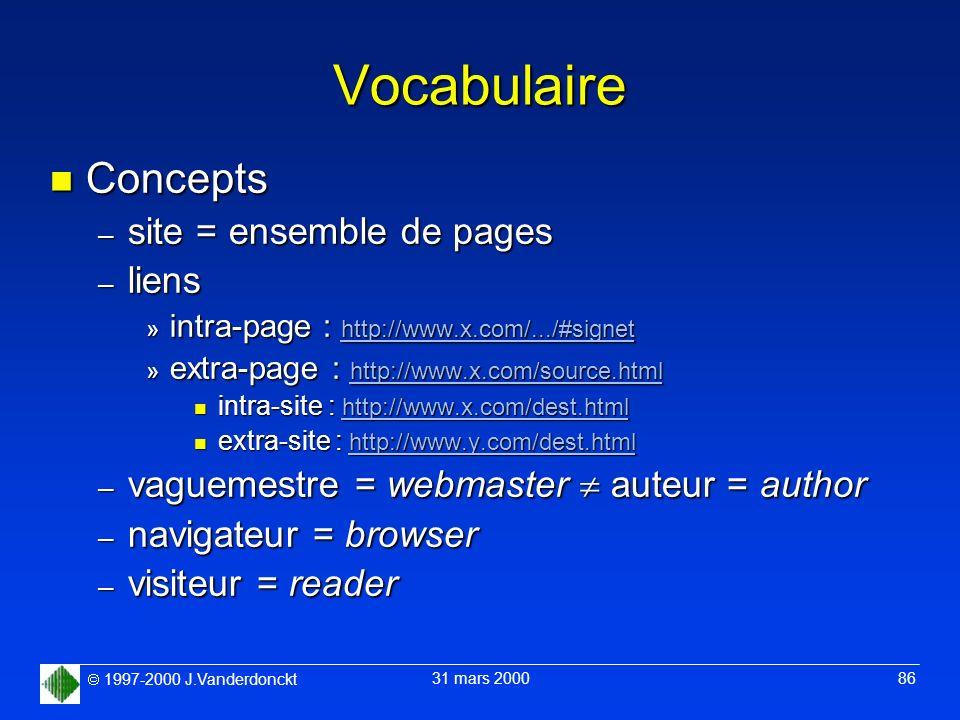 1997-2000 J.Vanderdonckt 31 mars 2000 86 Vocabulaire n Concepts – site = ensemble de pages – liens » intra-page : http://www.x.com/.../#signet » extra