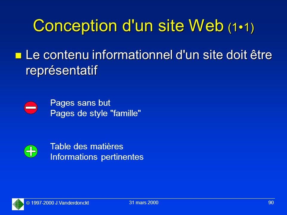 1997-2000 J.Vanderdonckt 31 mars 2000 90 Conception d'un site Web (1 1) n Le contenu informationnel d'un site doit être représentatif Pages sans but P
