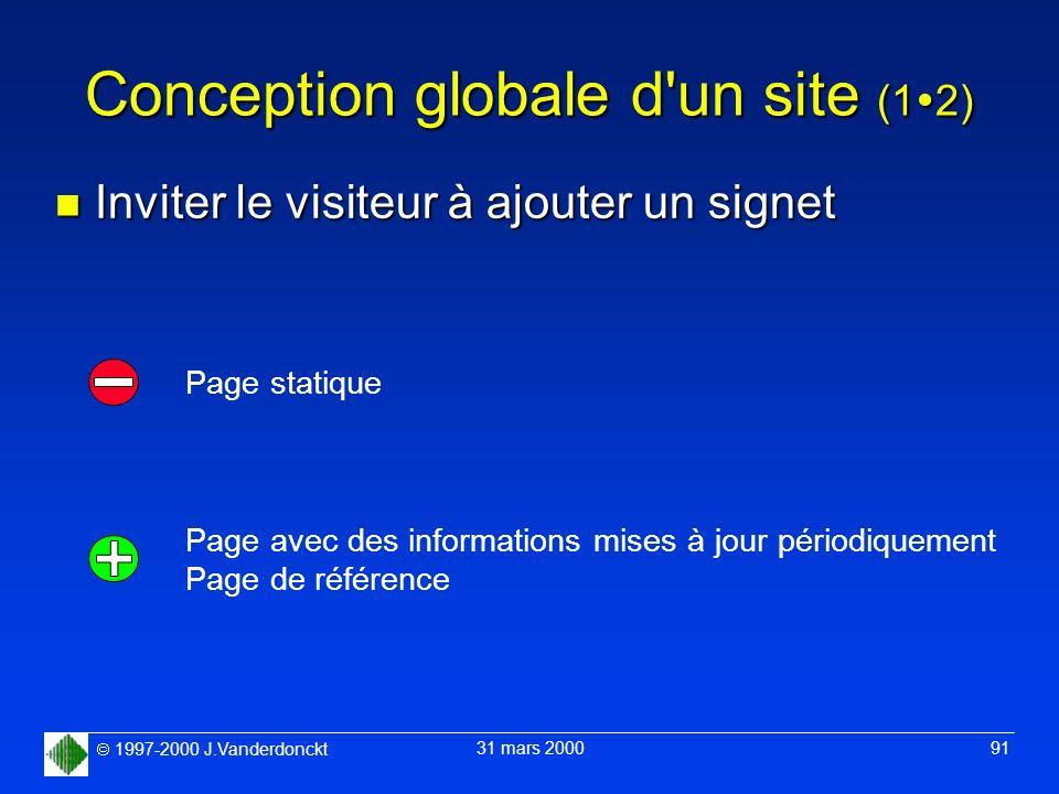 1997-2000 J.Vanderdonckt 31 mars 2000 91 Conception globale d'un site (1 2) n Inviter le visiteur à ajouter un signet Page statique Page avec des info