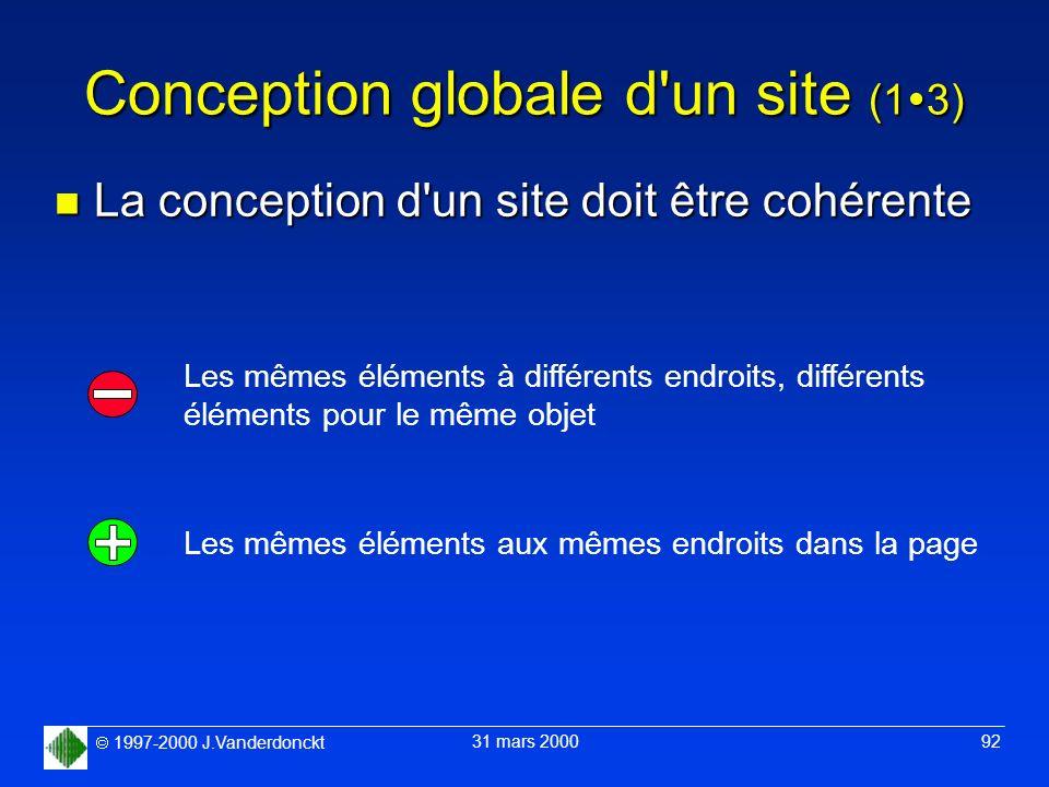 1997-2000 J.Vanderdonckt 31 mars 2000 92 Conception globale d'un site (1 3) n La conception d'un site doit être cohérente Les mêmes éléments à différe