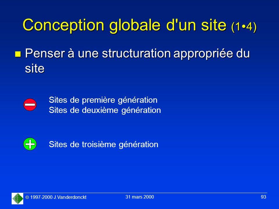 1997-2000 J.Vanderdonckt 31 mars 2000 93 Conception globale d'un site (1 4) n Penser à une structuration appropriée du site Sites de première générati