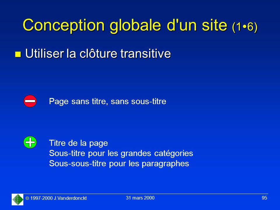 1997-2000 J.Vanderdonckt 31 mars 2000 95 Conception globale d'un site (1 6) n Utiliser la clôture transitive Page sans titre, sans sous-titre Titre de
