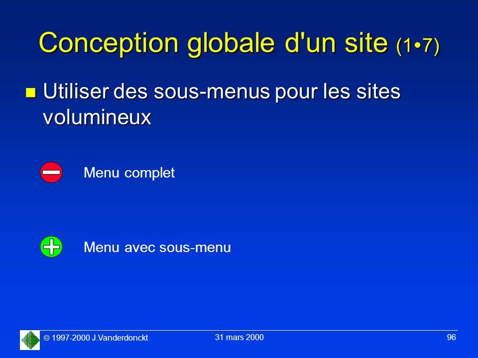 1997-2000 J.Vanderdonckt 31 mars 2000 96 Conception globale d'un site (1 7) n Utiliser des sous-menus pour les sites volumineux Menu complet Menu avec
