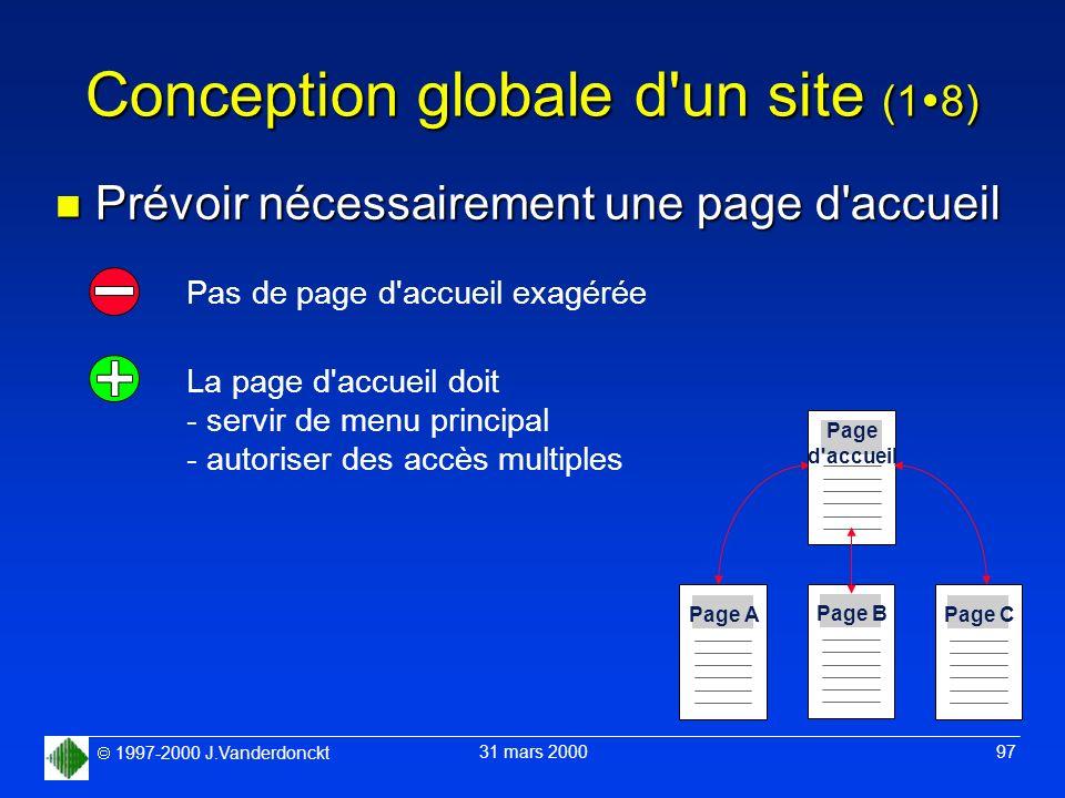 1997-2000 J.Vanderdonckt 31 mars 2000 97 Conception globale d'un site (1 8) n Prévoir nécessairement une page d'accueil Pas de page d'accueil exagérée