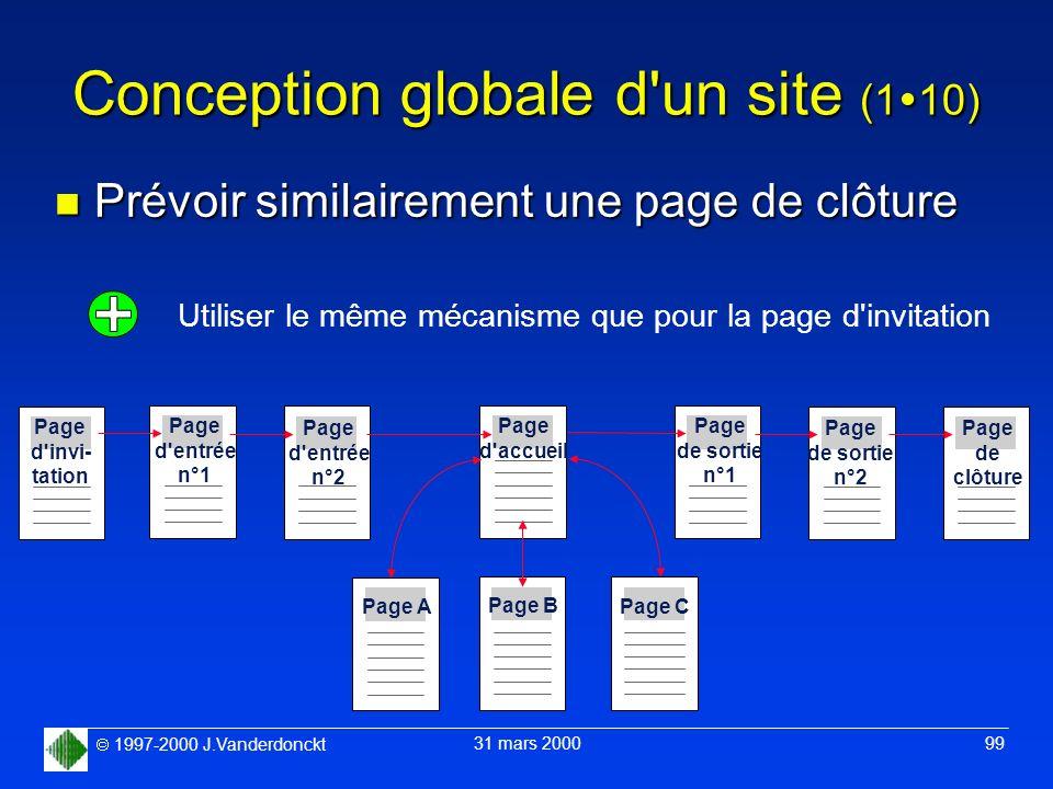 1997-2000 J.Vanderdonckt 31 mars 2000 99 Conception globale d'un site (1 10) n Prévoir similairement une page de clôture Page d'accueil Page B Page A