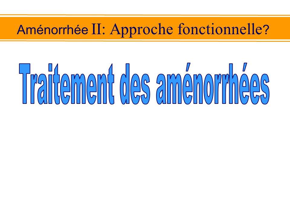 Aménorrhée II: Approche fonctionnelle ?