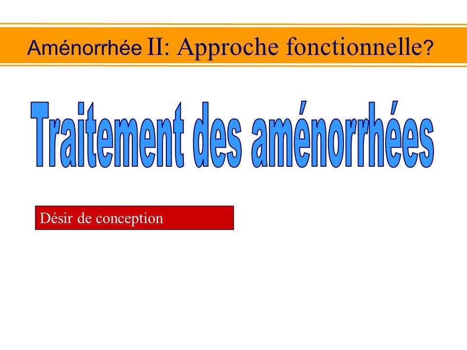 Aménorrhée II: Approche fonctionnelle ? Désir de conception