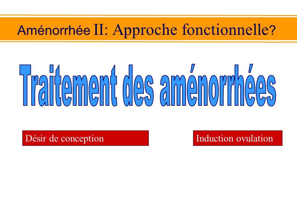Aménorrhée II: Approche fonctionnelle ? Désir de conceptionInduction ovulation