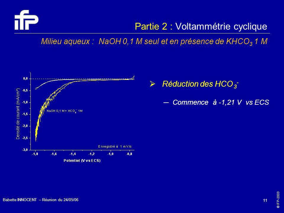 © IFP-2003 Babette INNOCENT – Réunion du 24/05/06 11 Partie 2 : Voltammétrie cyclique Milieu aqueux : NaOH 0,1 M seul et en présence de KHCO 3 1 M Réd