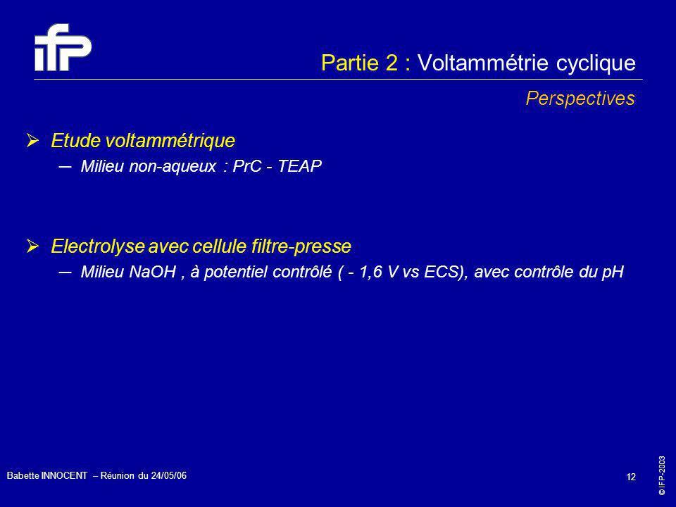 © IFP-2003 Babette INNOCENT – Réunion du 24/05/06 12 Partie 2 : Voltammétrie cyclique Perspectives Etude voltammétrique Milieu non-aqueux : PrC - TEAP