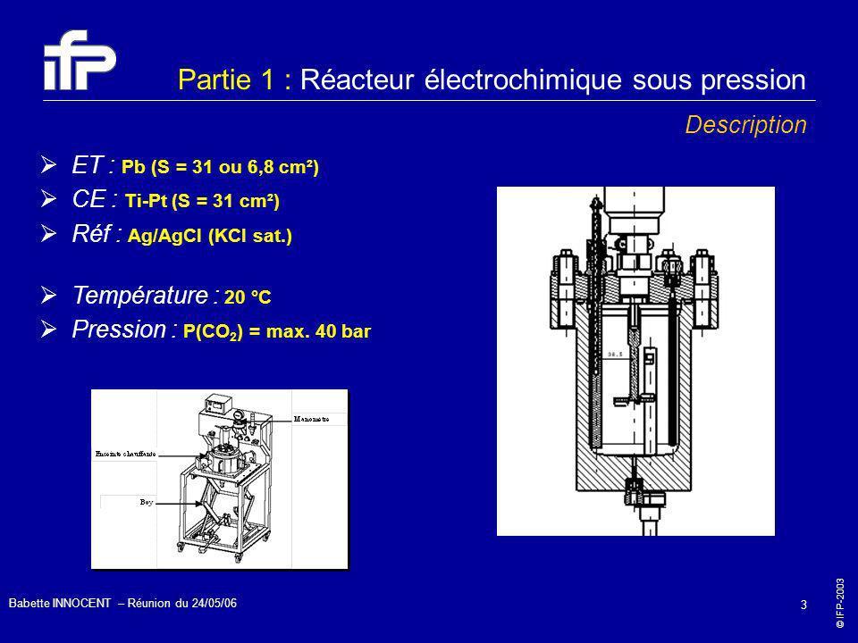 © IFP-2003 Babette INNOCENT – Réunion du 24/05/06 3 Partie 1 : Réacteur électrochimique sous pression Description ET : Pb (S = 31 ou 6,8 cm²) CE : Ti-