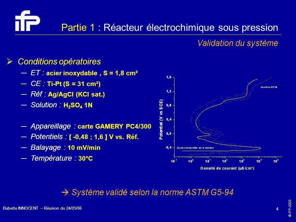 © IFP-2003 Babette INNOCENT – Réunion du 24/05/06 4 Partie 1 : Réacteur électrochimique sous pression Validation du système Conditions opératoires ET