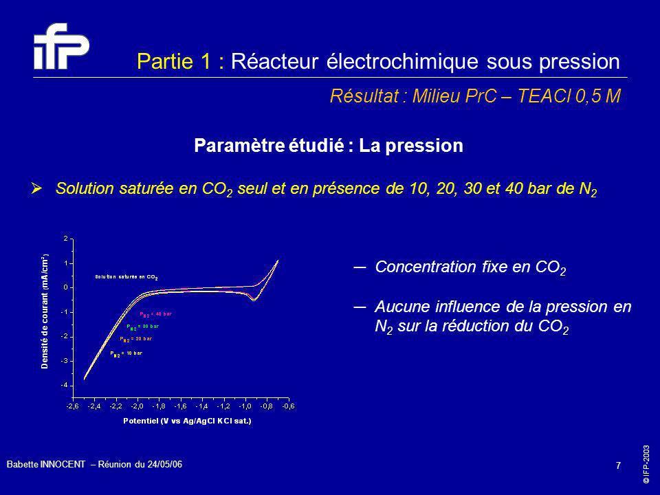 © IFP-2003 Babette INNOCENT – Réunion du 24/05/06 7 Partie 1 : Réacteur électrochimique sous pression Résultat : Milieu PrC – TEACl 0,5 M Paramètre ét