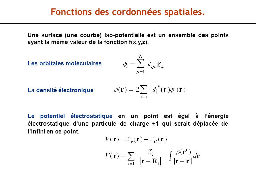 Fonctions des cordonnées spatiales.
