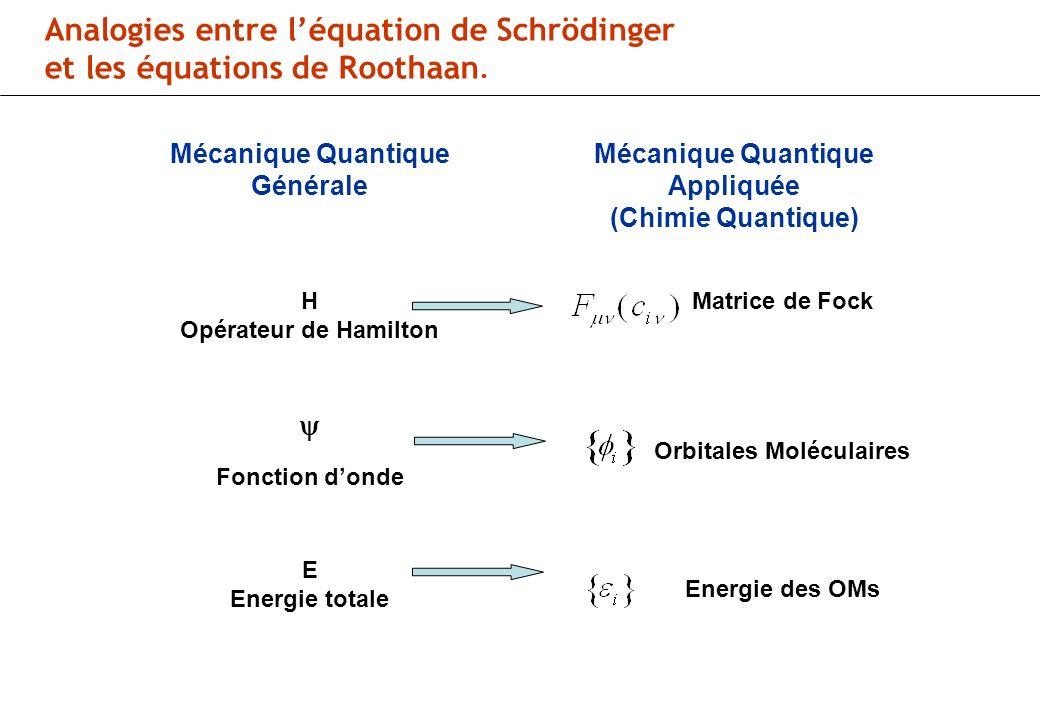 Analogies entre léquation de Schrödinger et les équations de Roothaan.