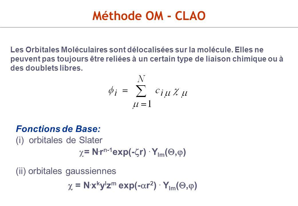 Méthode de Hartree-Fock-Roothan (Champ Auto-Cohérent) Les éléments de la matrice de Fock sont des fonctions des variables C i.