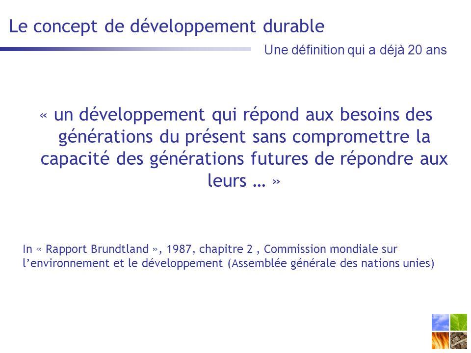 Le concept de développement durable « un développement qui répond aux besoins des générations du présent sans compromettre la capacité des générations futures de répondre aux leurs … » In « Rapport Brundtland », 1987, chapitre 2, Commission mondiale sur lenvironnement et le développement (Assemblée générale des nations unies) Une définition qui a déjà 20 ans