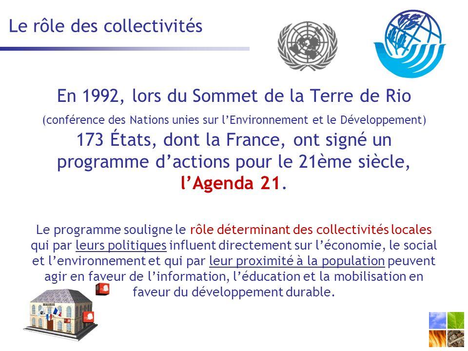 Le rôle des collectivités En 1992, lors du Sommet de la Terre de Rio (conférence des Nations unies sur lEnvironnement et le Développement) 173 États, dont la France, ont signé un programme dactions pour le 21ème siècle, lAgenda 21.