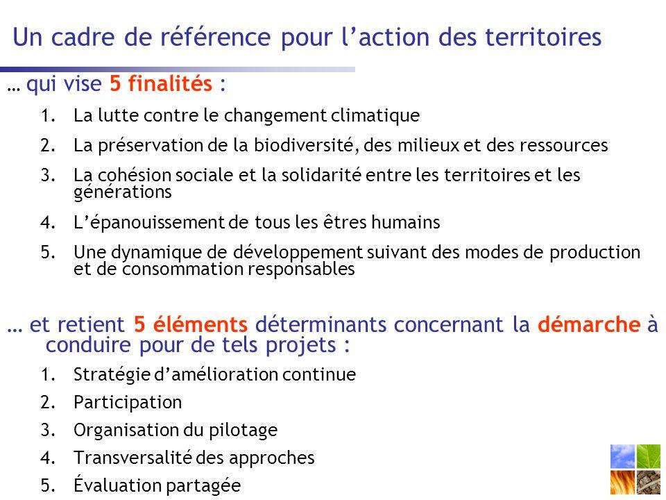 Un cadre de référence pour laction des territoires … qui vise 5 finalités : 1.La lutte contre le changement climatique 2.La préservation de la biodiversité, des milieux et des ressources 3.La cohésion sociale et la solidarité entre les territoires et les générations 4.Lépanouissement de tous les êtres humains 5.Une dynamique de développement suivant des modes de production et de consommation responsables … et retient 5 éléments déterminants concernant la démarche à conduire pour de tels projets : 1.Stratégie damélioration continue 2.Participation 3.Organisation du pilotage 4.Transversalité des approches 5.Évaluation partagée