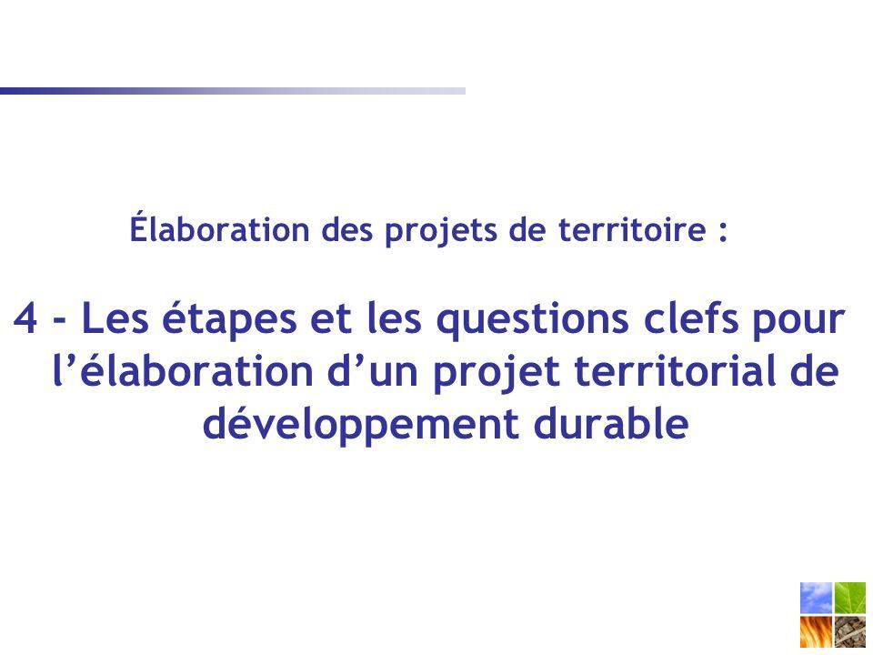 Élaboration des projets de territoire : 4 - Les étapes et les questions clefs pour lélaboration dun projet territorial de développement durable