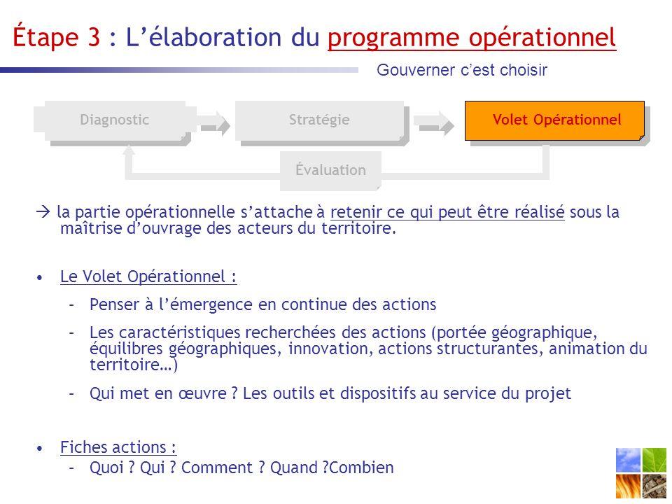 Étape 3 : Lélaboration du programme opérationnel la partie opérationnelle sattache à retenir ce qui peut être réalisé sous la maîtrise douvrage des acteurs du territoire.