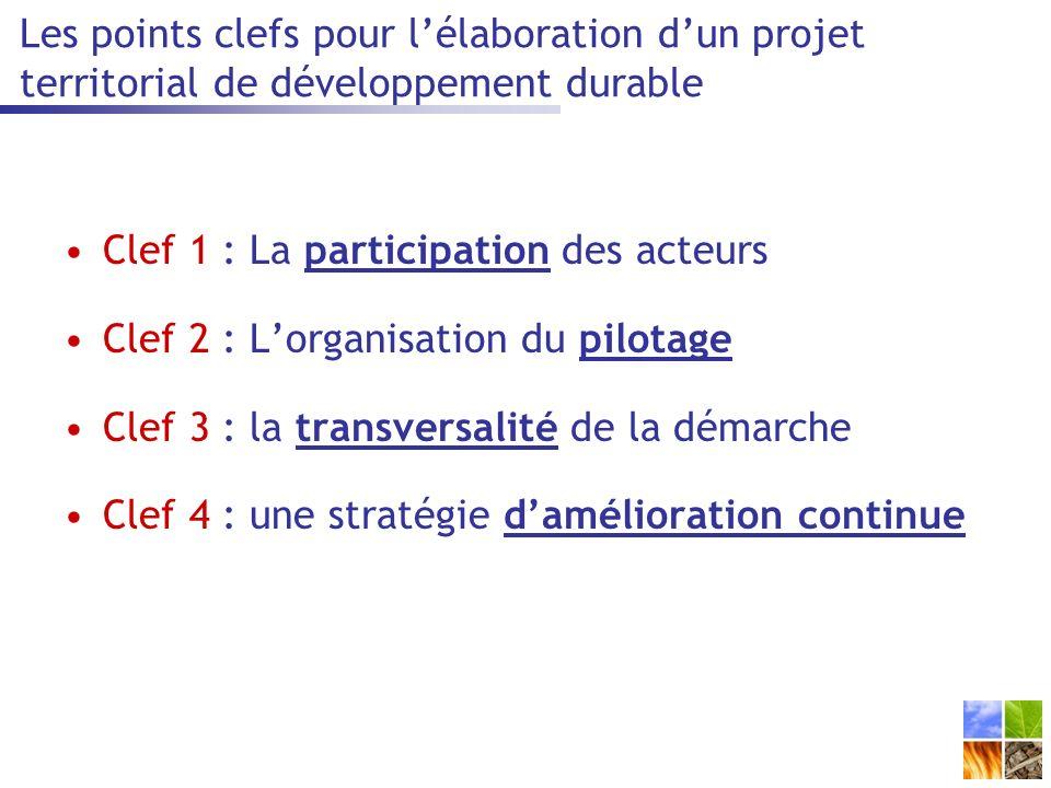 Clef 1 : La participation des acteurs Clef 2 : Lorganisation du pilotage Clef 3 : la transversalité de la démarche Clef 4 : une stratégie damélioration continue