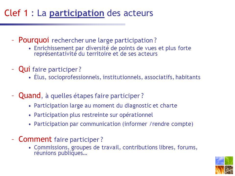 Clef 1 : La participation des acteurs –Pourquoi rechercher une large participation .