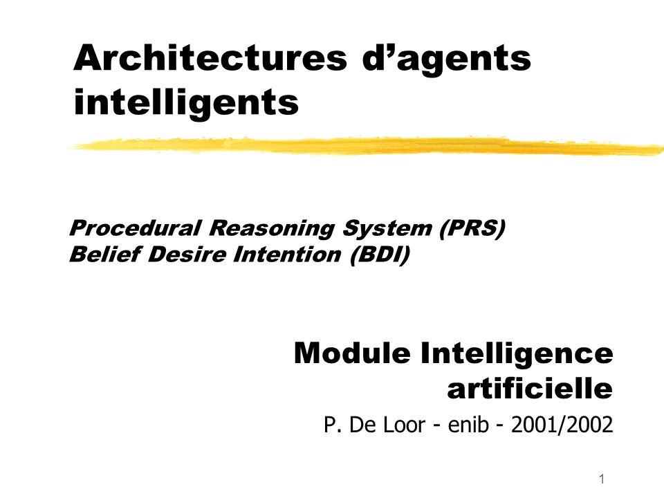 1 Architectures dagents intelligents Module Intelligence artificielle P. De Loor - enib - 2001/2002 Procedural Reasoning System (PRS) Belief Desire In