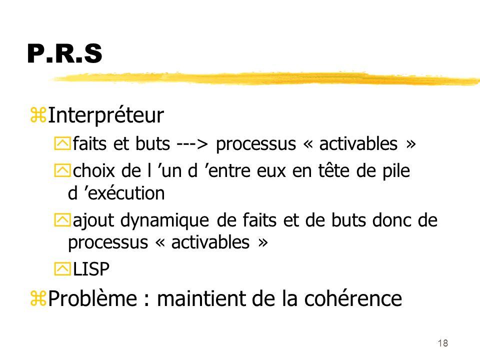 18 P.R.S zInterpréteur yfaits et buts ---> processus « activables » ychoix de l un d entre eux en tête de pile d exécution yajout dynamique de faits e