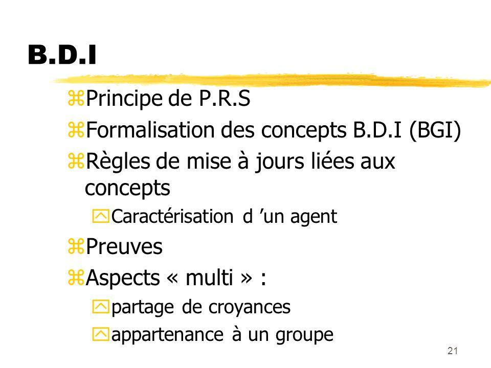 21 B.D.I zPrincipe de P.R.S zFormalisation des concepts B.D.I (BGI) zRègles de mise à jours liées aux concepts yCaractérisation d un agent zPreuves zA
