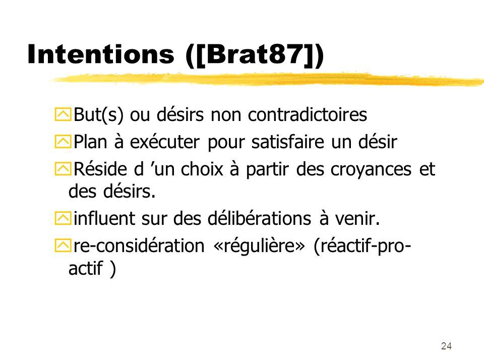 24 Intentions ([Brat87]) yBut(s) ou désirs non contradictoires yPlan à exécuter pour satisfaire un désir yRéside d un choix à partir des croyances et