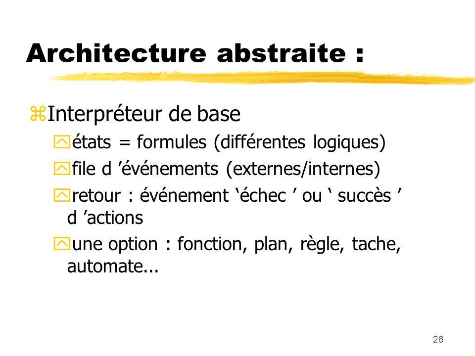 26 Architecture abstraite : zInterpréteur de base yétats = formules (différentes logiques) yfile d événements (externes/internes) yretour : événement