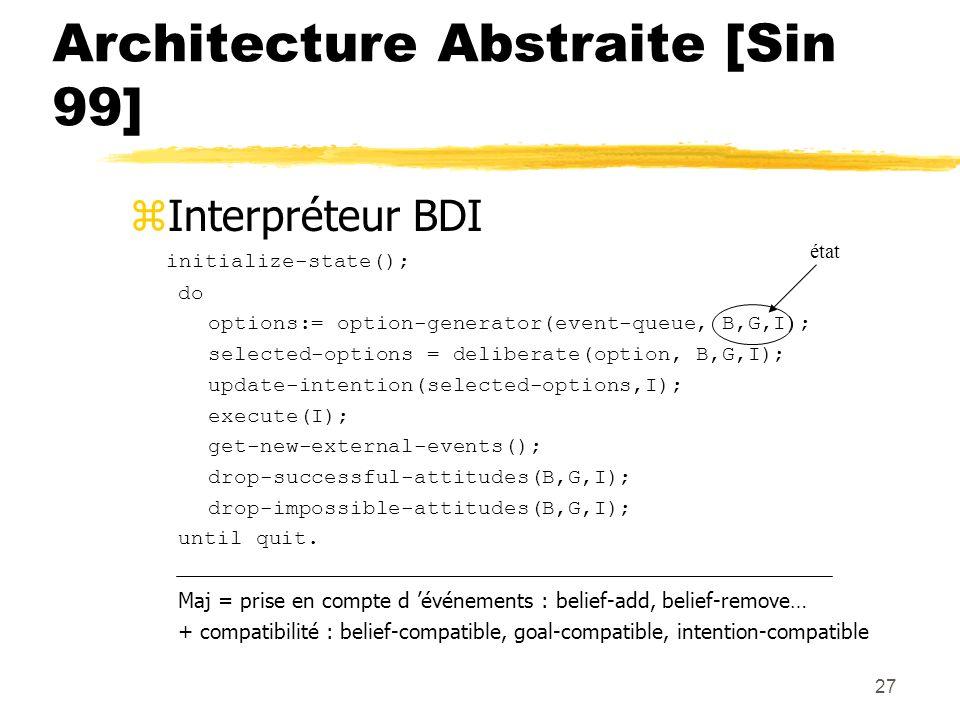 27 Architecture Abstraite [Sin 99] zInterpréteur BDI initialize-state(); do options:= option-generator(event-queue, B,G,I); selected-options = deliber