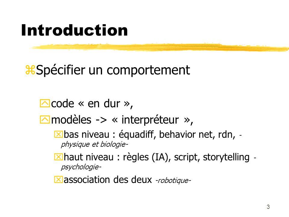 3 zSpécifier un comportement ycode « en dur », ymodèles -> « interpréteur », xbas niveau : équadiff, behavior net, rdn, - physique et biologie- xhaut