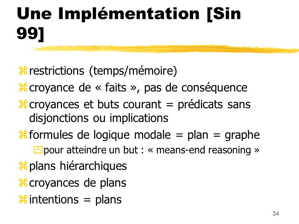 34 Une Implémentation [Sin 99] zrestrictions (temps/mémoire) zcroyance de « faits », pas de conséquence zcroyances et buts courant = prédicats sans di