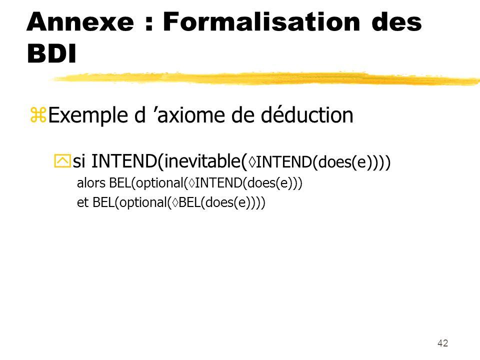 42 Annexe : Formalisation des BDI zExemple d axiome de déduction ysi INTEND(inevitable( INTEND(does(e)))) alors BEL(optional( INTEND(does(e))) et BEL(