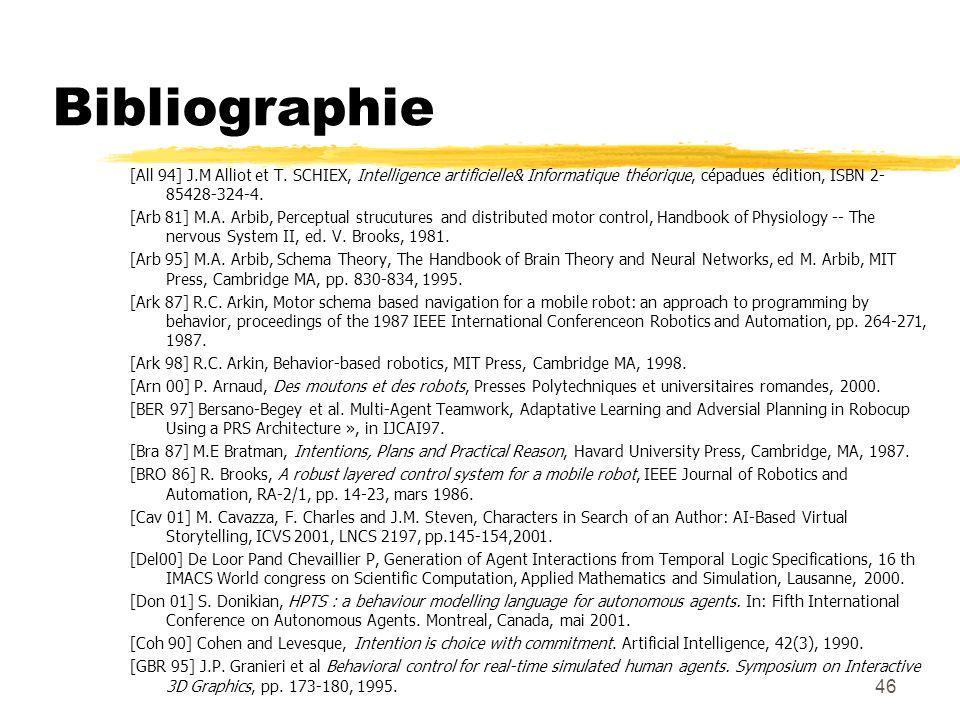 46 Bibliographie [All 94] J.M Alliot et T. SCHIEX, Intelligence artificielle& Informatique théorique, cépadues édition, ISBN 2- 85428-324-4. [Arb 81]