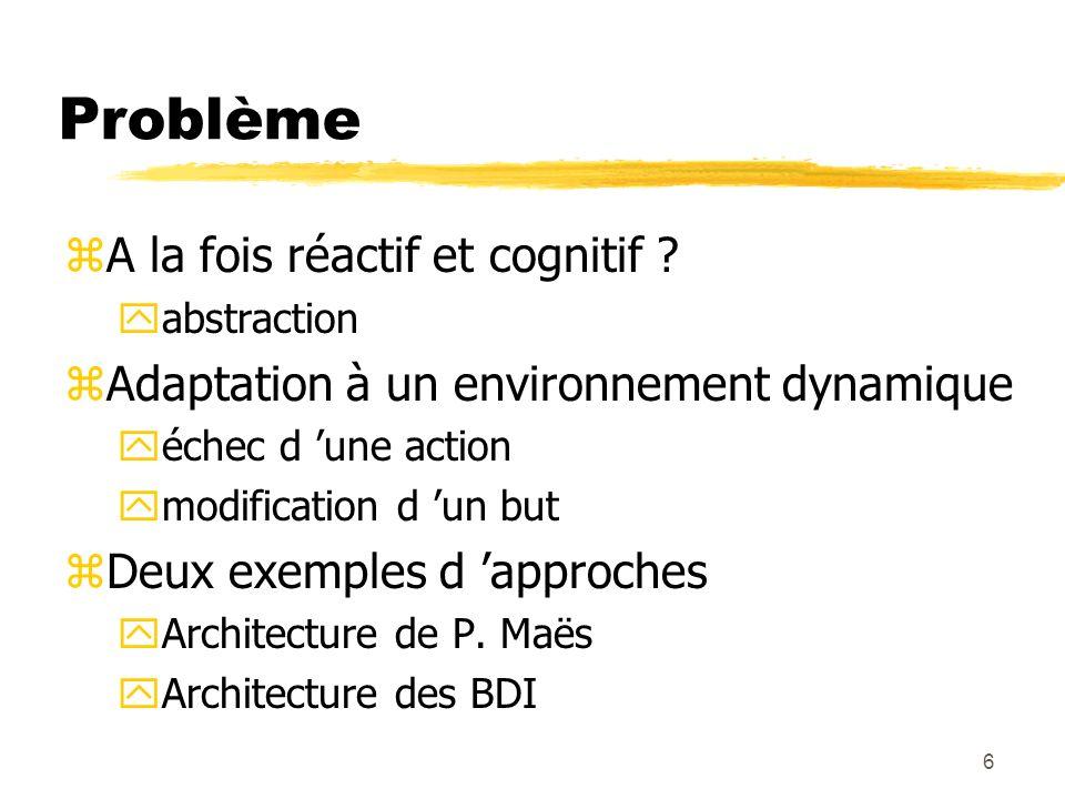 6 Problème zA la fois réactif et cognitif ? yabstraction zAdaptation à un environnement dynamique yéchec d une action ymodification d un but zDeux exe