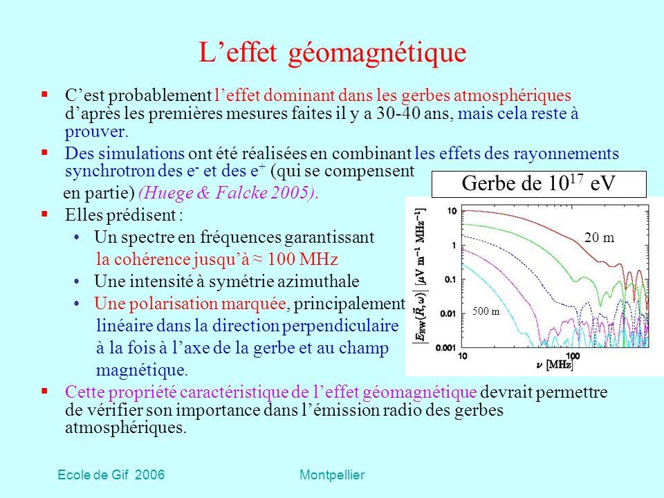 Ecole de Gif 2006Montpellier Leffet géomagnétique Cest probablement leffet dominant dans les gerbes atmosphériques daprès les premières mesures faites il y a 30-40 ans, mais cela reste à prouver.