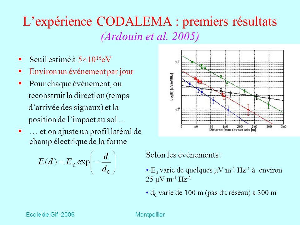 Ecole de Gif 2006Montpellier Lexpérience CODALEMA : premiers résultats (Ardouin et al.