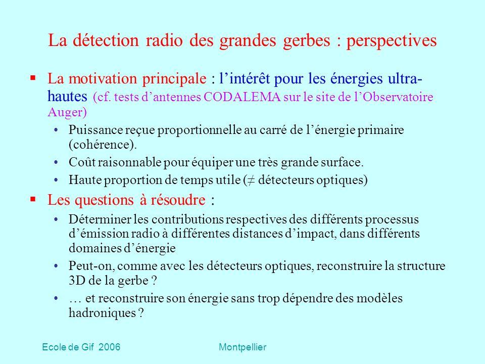 Ecole de Gif 2006Montpellier La détection radio des grandes gerbes : perspectives La motivation principale : lintérêt pour les énergies ultra- hautes (cf.