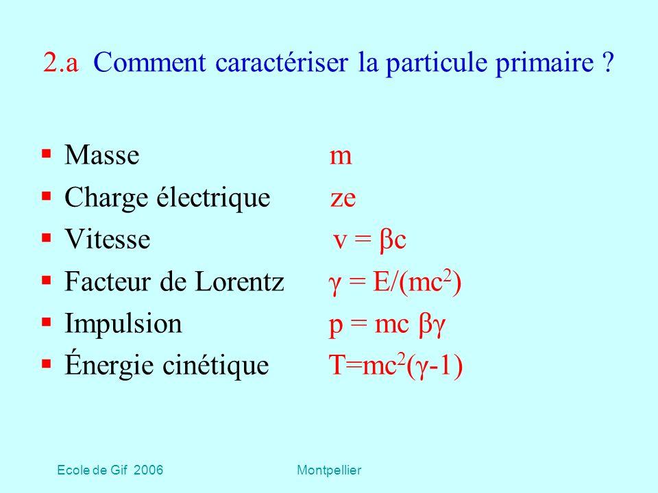Ecole de Gif 2006Montpellier 2.a Comment caractériser la particule primaire .