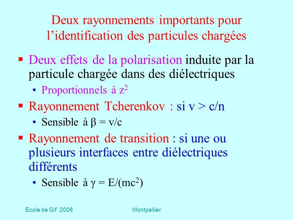 Ecole de Gif 2006Montpellier Deux rayonnements importants pour lidentification des particules chargées Deux effets de la polarisation induite par la particule chargée dans des diélectriques Proportionnels à z 2 Rayonnement Tcherenkov : si v > c/n Sensible à β = v/c Rayonnement de transition : si une ou plusieurs interfaces entre diélectriques différents Sensible à γ = E/(mc 2 )
