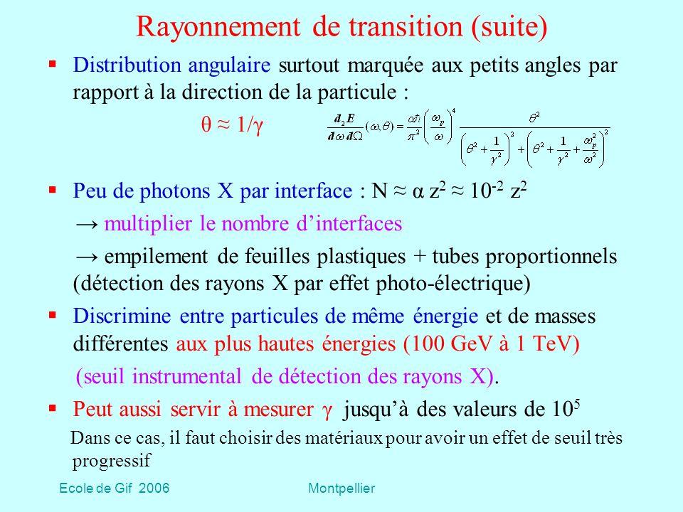 Ecole de Gif 2006Montpellier Rayonnement de transition (suite) Distribution angulaire surtout marquée aux petits angles par rapport à la direction de la particule : θ 1/γ Peu de photons X par interface : N α z 2 10 -2 z 2 multiplier le nombre dinterfaces empilement de feuilles plastiques + tubes proportionnels (détection des rayons X par effet photo-électrique) Discrimine entre particules de même énergie et de masses différentes aux plus hautes énergies (100 GeV à 1 TeV) (seuil instrumental de détection des rayons X).
