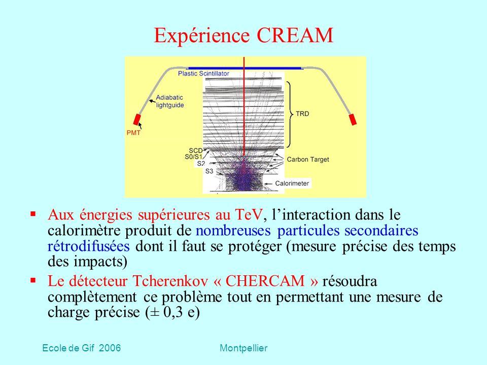 Ecole de Gif 2006Montpellier Expérience CREAM Aux énergies supérieures au TeV, linteraction dans le calorimètre produit de nombreuses particules secondaires rétrodifusées dont il faut se protéger (mesure précise des temps des impacts) Le détecteur Tcherenkov « CHERCAM » résoudra complètement ce problème tout en permettant une mesure de charge précise (± 0,3 e)