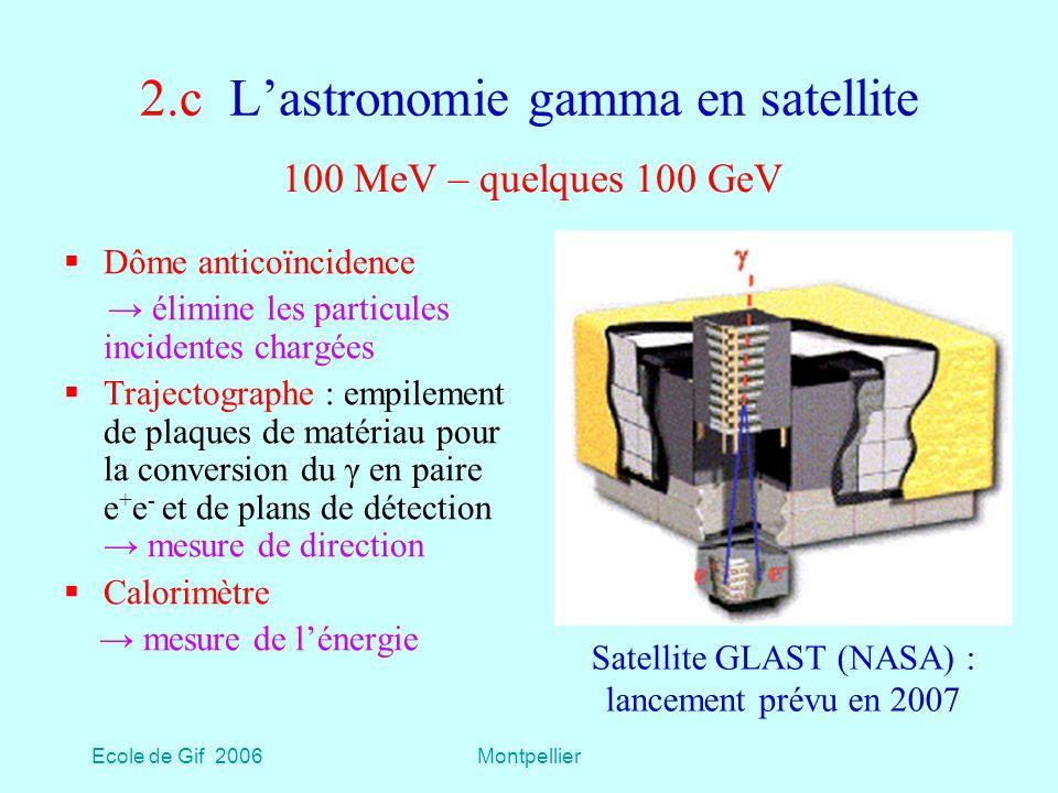 Ecole de Gif 2006Montpellier 2.c Lastronomie gamma en satellite Dôme anticoïncidence élimine les particules incidentes chargées Trajectographe : empilement de plaques de matériau pour la conversion du γ en paire e + e - et de plans de détection mesure de direction Calorimètre mesure de lénergie 100 MeV – quelques 100 GeV Satellite GLAST (NASA) : lancement prévu en 2007