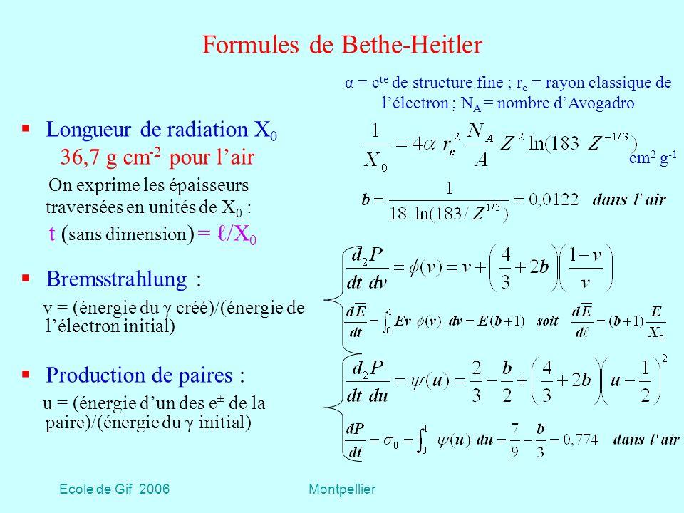 Ecole de Gif 2006Montpellier Formules de Bethe-Heitler Longueur de radiation X 0 36,7 g cm -2 pour lair On exprime les épaisseurs traversées en unités de X 0 : t ( sans dimension ) = /X 0 Bremsstrahlung : v = (énergie du γ créé)/(énergie de lélectron initial) Production de paires : u = (énergie dun des e ± de la paire)/(énergie du γ initial) α = c te de structure fine ; r e = rayon classique de lélectron ; N A = nombre dAvogadro cm 2 g -1