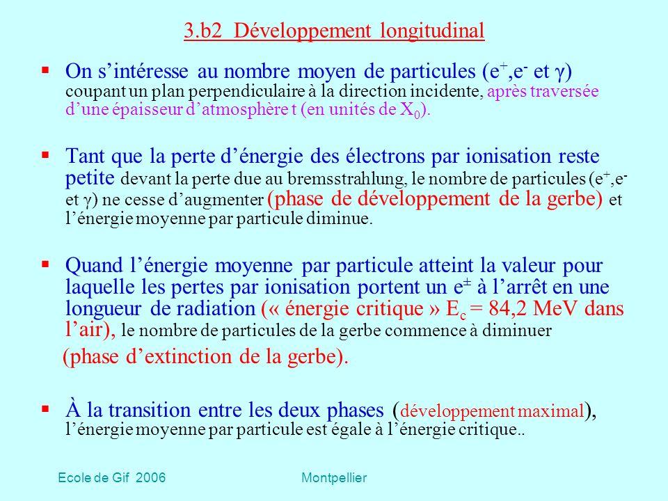 Ecole de Gif 2006Montpellier 3.b2 Développement longitudinal On sintéresse au nombre moyen de particules (e +,e - et γ) coupant un plan perpendiculaire à la direction incidente, après traversée dune épaisseur datmosphère t (en unités de X 0 ).