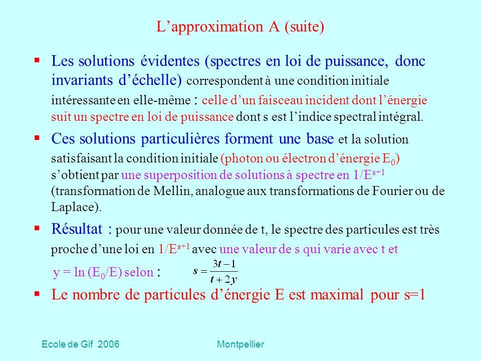 Ecole de Gif 2006Montpellier Lapproximation A (suite) Les solutions évidentes (spectres en loi de puissance, donc invariants déchelle) correspondent à une condition initiale intéressante en elle-même : celle dun faisceau incident dont lénergie suit un spectre en loi de puissance dont s est lindice spectral intégral.