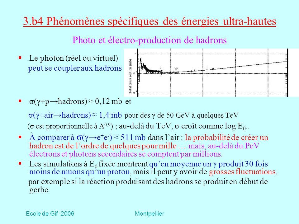 Ecole de Gif 2006Montpellier 3.b4 Phénomènes spécifiques des énergies ultra-hautes Le photon (réel ou virtuel) peut se coupler aux hadrons σ(γ+phadrons) 0,12 mb et σ(γ+airhadrons) 1,4 mb pour des γ de 50 GeV à quelques TeV (σ est proportionnelle à A 0,9 ) ; au-delà du TeV, σ croît comme log E 0..